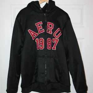 New Hoodie AEROPOSTALE  AERO 1987  BLACK men 2XL